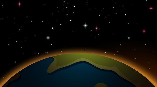Tierra en el fondo de la escena espacial