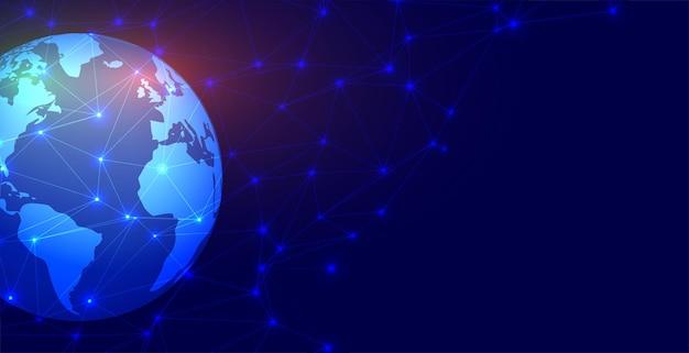 Tierra con fondo de líneas de conexión digital