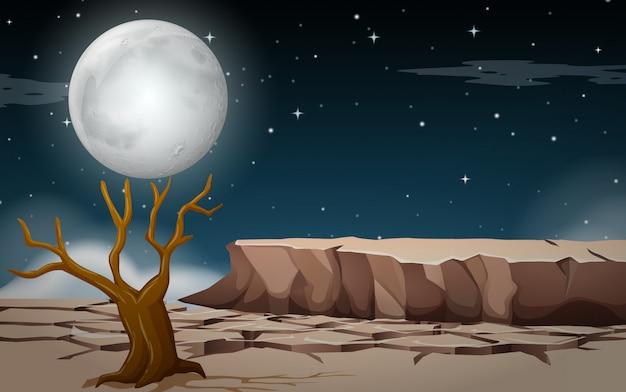 Una tierra seca por la noche.
