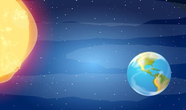 Tierra y sol en el espacio
