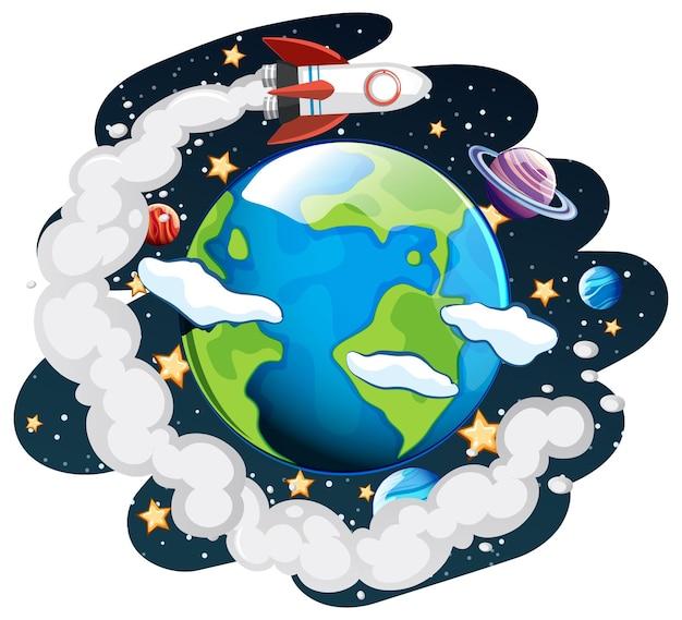La tierra en el tema de la galaxia espacial.