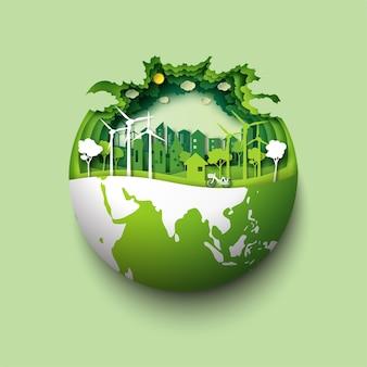 Tierra verde del arte del papel del paisaje del bosque amistoso y urbano del eco