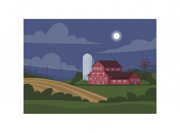 Tierras de cultivo durante la noche semi ilustración.