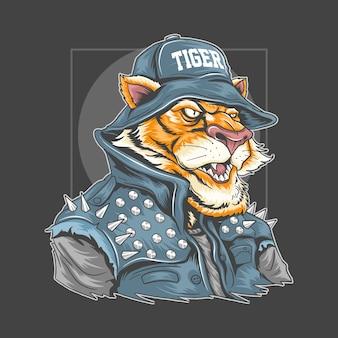 Tiger use rocker chaqueta y cubo de sombrero de ilustración con capas editables cada color