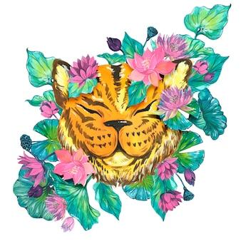 Tigre de agua, ilustraciones en acuarela. vector elementos aislados.