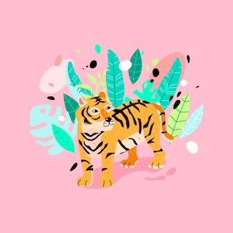 Tigre alegre en la ilustración de la selva.