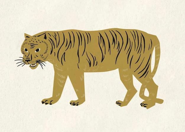 Tigre, animal salvaje, vendimia, oro clipart