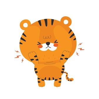 Tigre bebé con emociones en diseño plano.