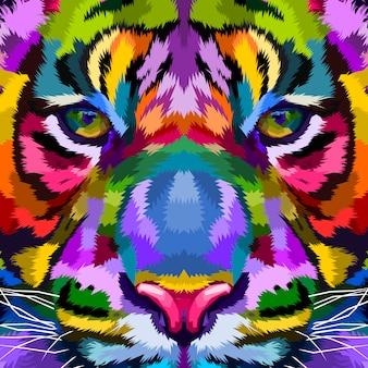 Tigre colorido de cerca
