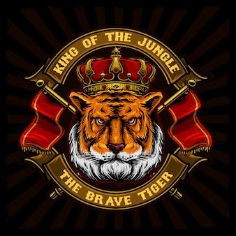 Tigre con corona y bandera del reino