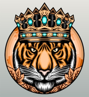 Tigre con corona de oro.
