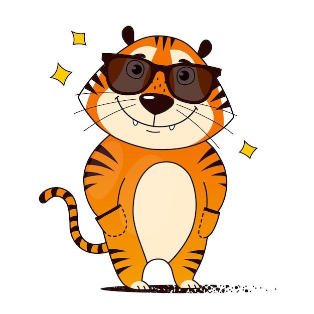 Tigre de dibujos animados fresco en las manos de las gafas de sol en los bolsillos