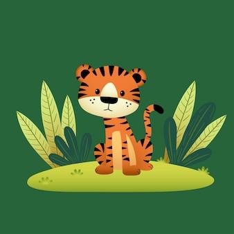 Tigre de dibujos animados y hojas tropicales sobre fondo verde.