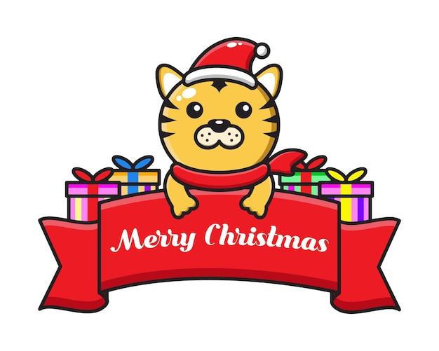 Tigre de dibujos animados lindo con cinta de felicitación de navidad