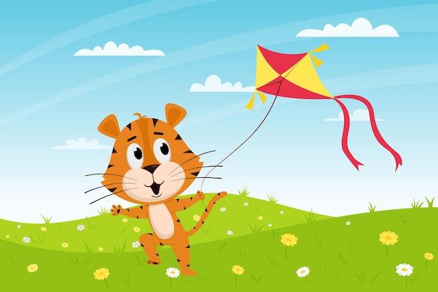 Tigre de dibujos animados lindo corre con una cometa en el campo. paisaje de verano. carácter animal.
