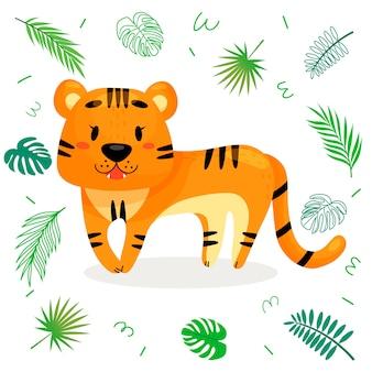 Tigre de dibujos animados lindo con hojas tropicales.