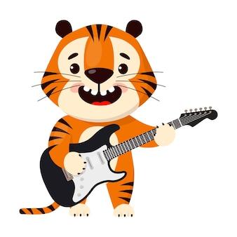 Tigre de dibujos animados lindo toca la guitarra eléctrica símbolo del año 2022 del tigre
