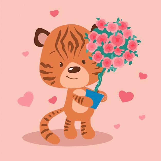 Tigre de dibujos animados lindo con un topiario de rosas en una olla