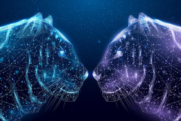 Tigre de dos cabezas poligonales de estructura metálica. concepto con brillantes tigres de polietileno baja. fondo abstracto moderno futurista. ilustración vectorial.