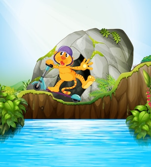 Tigre en la escena de la jungla de scooter