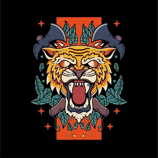 Tigre fantasma con ilustración de calavera y hacha