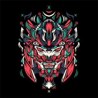 Tigre con ilustración de casco de samurai