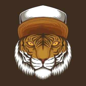 Tigre con ilustración de gorra