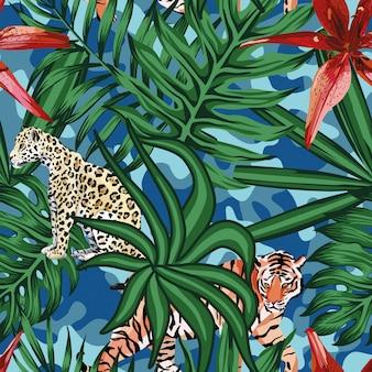 Tigre leopardo hojas tropicales lirio fondo camo inconsútil