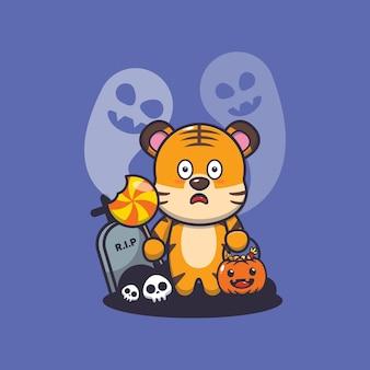 Tigre lindo asustado por fantasma en el día de halloween linda ilustración de dibujos animados de halloween