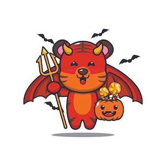 Tigre lindo diablo llevando calabaza halloween linda ilustración de dibujos animados de halloween