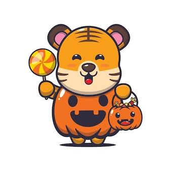Tigre lindo con disfraz de calabaza de halloween linda ilustración de dibujos animados de halloween