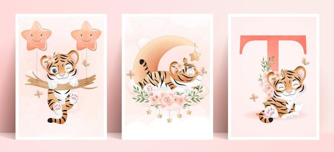 Tigre lindo doodle con conjunto de ilustración acuarela