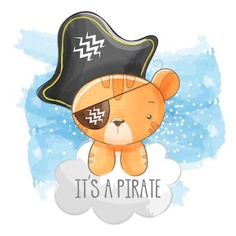 Tigre lindo con sombrero de pirata