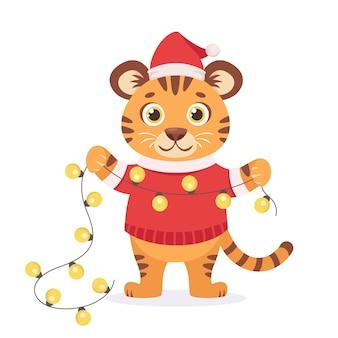 Tigre lindo en un suéter con guirnalda año del tigre
