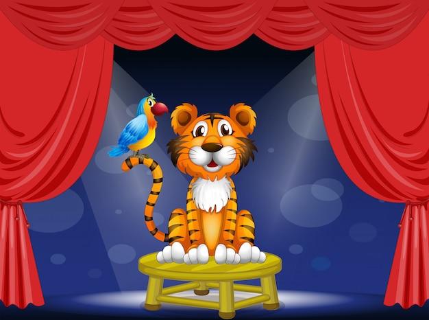 Un tigre y un loro en el circo.