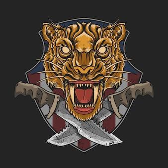 Tigre militar con el emblema de la daga