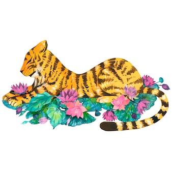 Tigre con nenúfares, ilustraciones en acuarela. vector elementos aislados.