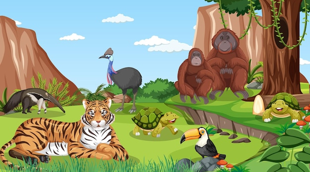 Un tigre con otros animales salvajes en la escena del bosque.