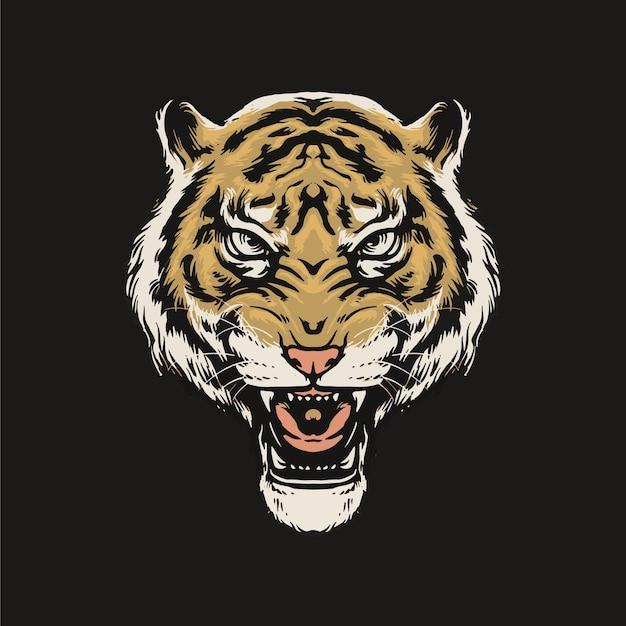 Tigre rugiendo aislado en negro