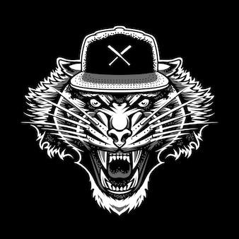 Tigre rugiente en snapback. blanco y gris en estilo de tatuaje de trabajo de punto negro ... mascota de vector.