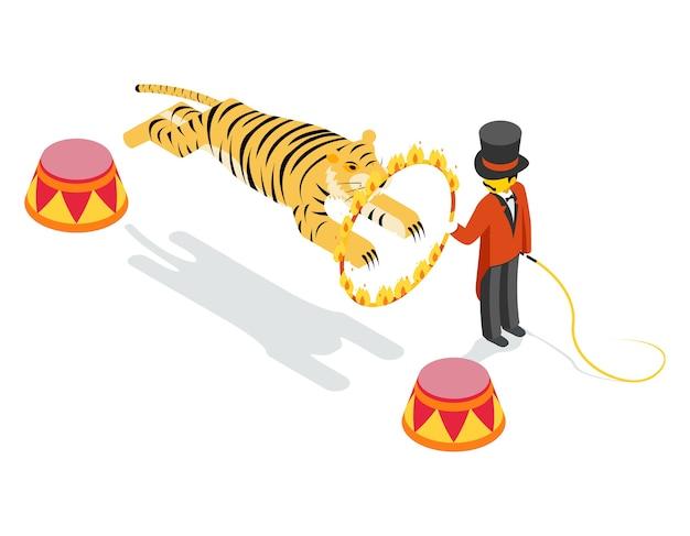 Tigre saltando a través del anillo. 3d isométrico plano. dispara y salta, muestra arena, rayas y círculos.