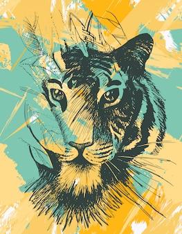 Tigre salvaje grunge