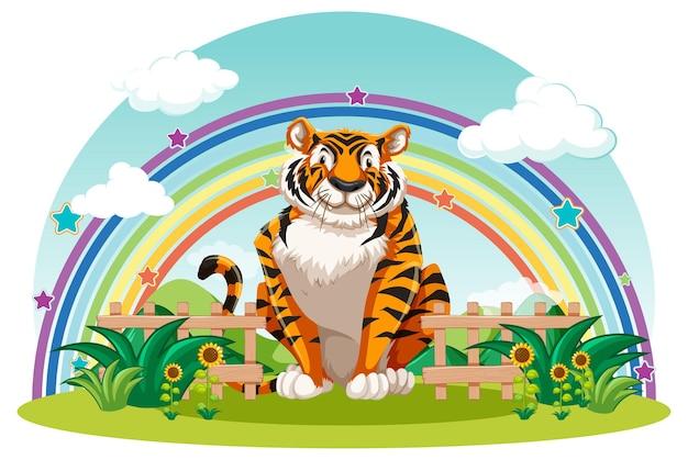 Un tigre sentado en el jardín con arco iris en el cielo.