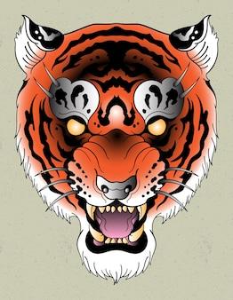 Tigre tatuaje flash neo tradicional