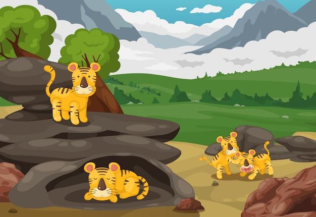 Tigre en vector de fondo de paisaje de montañas