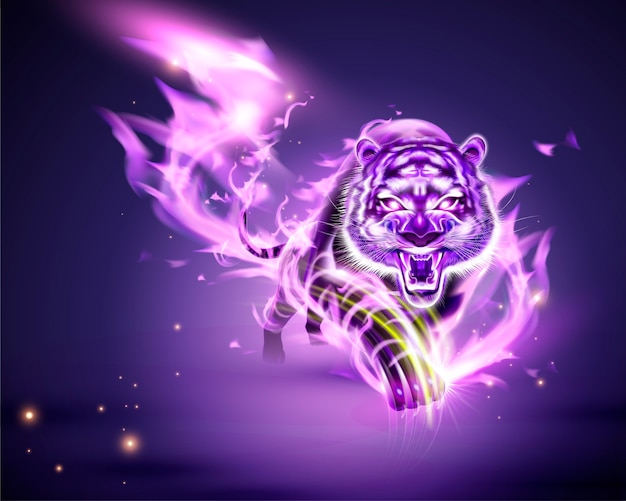 Tigre vicioso con llama ardiente púrpura