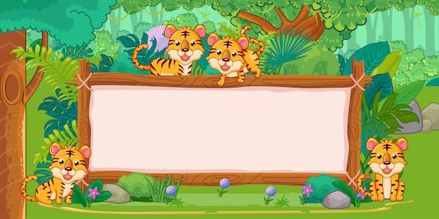 Tigres con un cartel de madera en blanco en la selva.