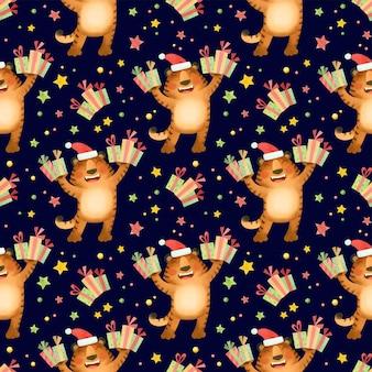 Tigres de patrones sin fisuras en un sombrero de navidad con regalos el símbolo del año nuevo 2022