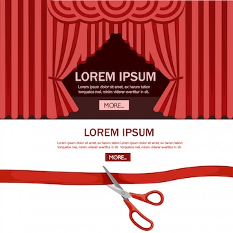 Las tijeras rojas cortaron la burocracia. escenario de teatro de ceremonia de apertura con cortina roja. ilustración sobre fondo blanco