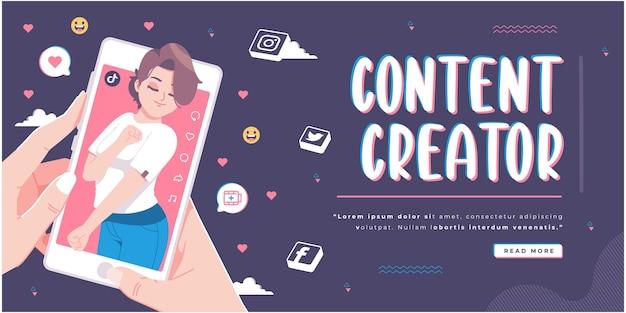 Tik tok aplicaciones creador de contenido concepto diseño de banner